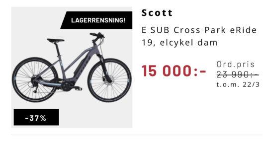 Stulen elcykel dam Scott Solna Sundbyberg Cykelstöld